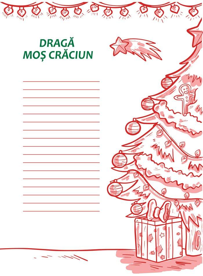Model de scrisoare pentru Mos Craciun cu brad impodobit