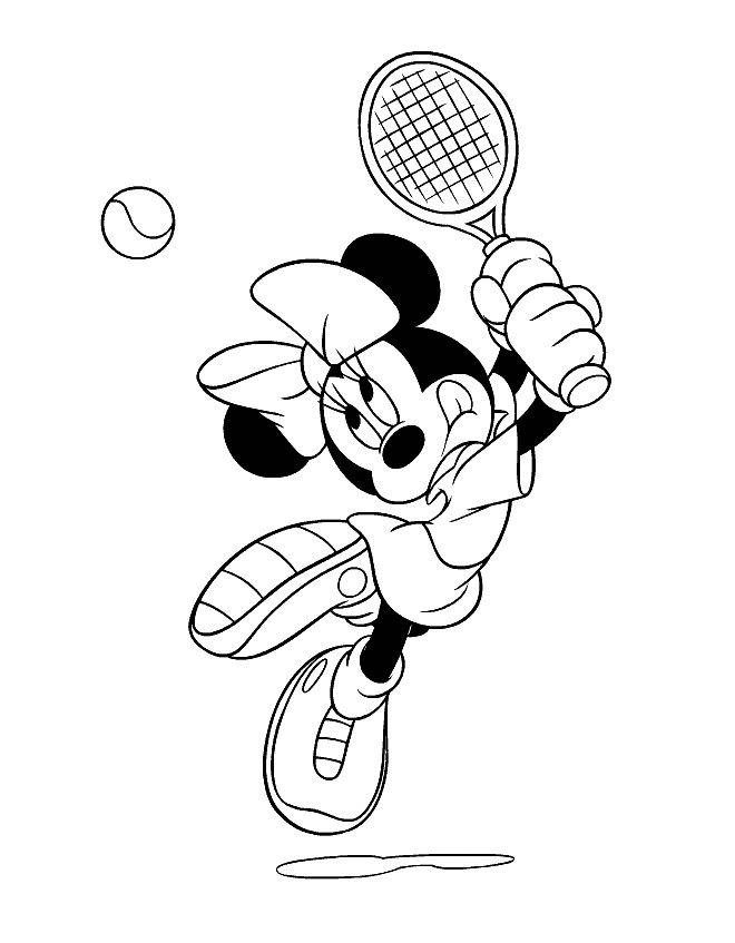 Minnie Joaca Tenis Plansa De Colorat Sfatulmamicilorro