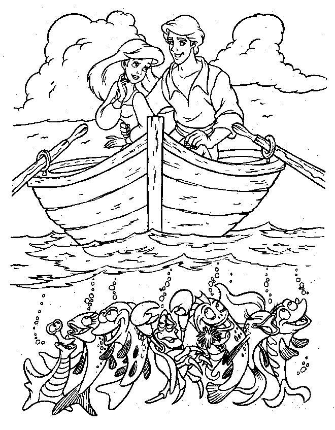 Mica Sirena Si Printul In Barca Plansa De Colorat