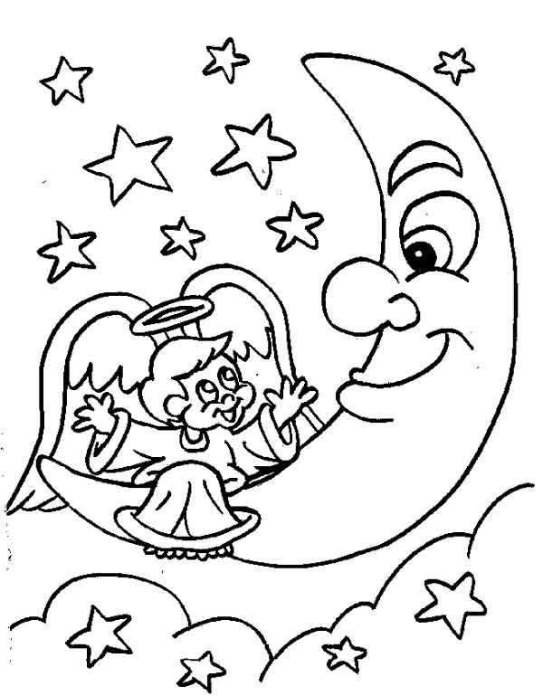 Cupidon Pe Luna Plansa De Colorat Sfatulmamicilorro