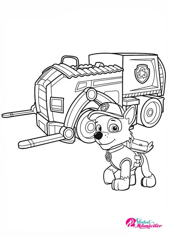 Rocky Si Camionul De Reciclare Plansa De Colorat